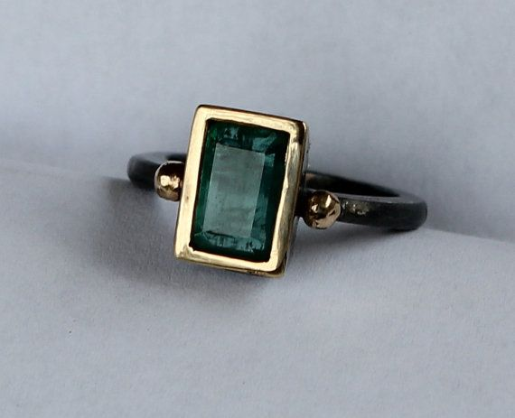 Hammer Forged 22k And Oxidized Sterling 2.25 ct Zambian Emerald Panna Stone Sz 7