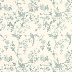 Summer Palace Off White/Duck Egg Blue Floral Wallpaper