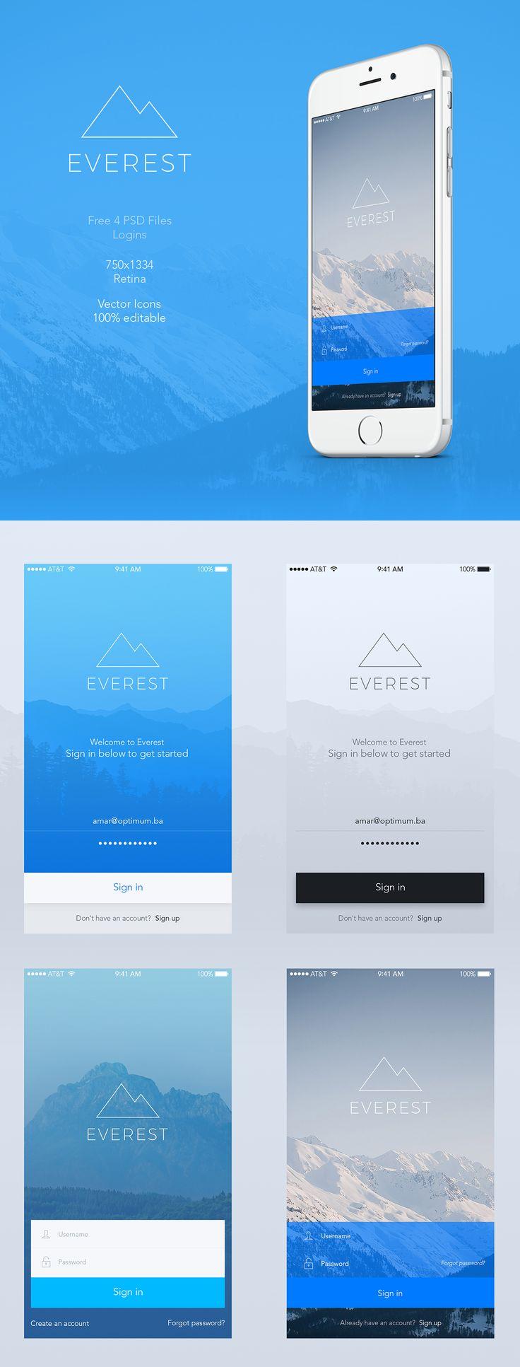 Everest - Mobile App UI FREE PSD Logins on Behance