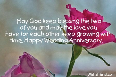 May God keep blessing the two of you and may the love you have for each other keep growing with time. Happy Wedding Anniversary.