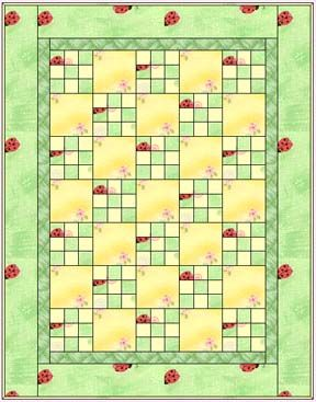 Nine Patch Quilt Embroider squares or fussy cut pretty material