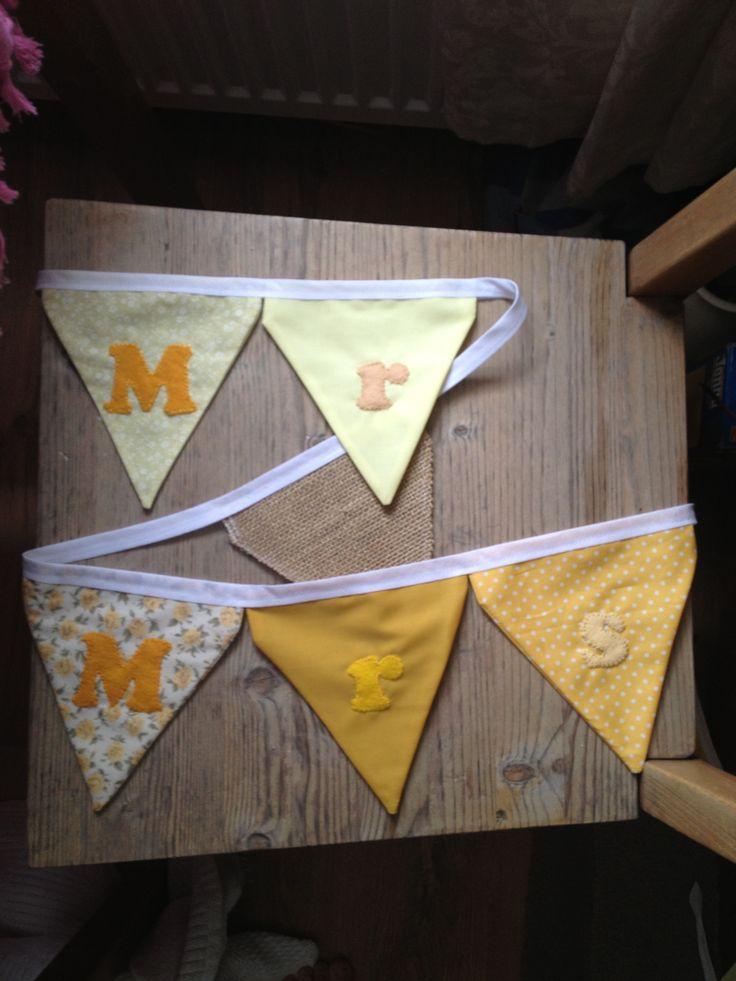 Yellow Mr Mrs Personalised Vintage Rustic Wedding Bunting