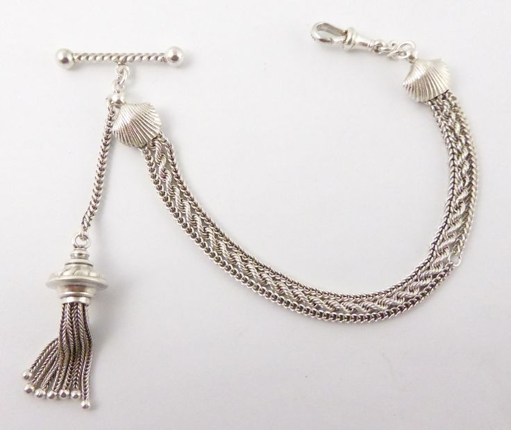 Antique Fancy Silver Albert Watch Chain with Tassels, Shell and T Bar - The Collectors Bag