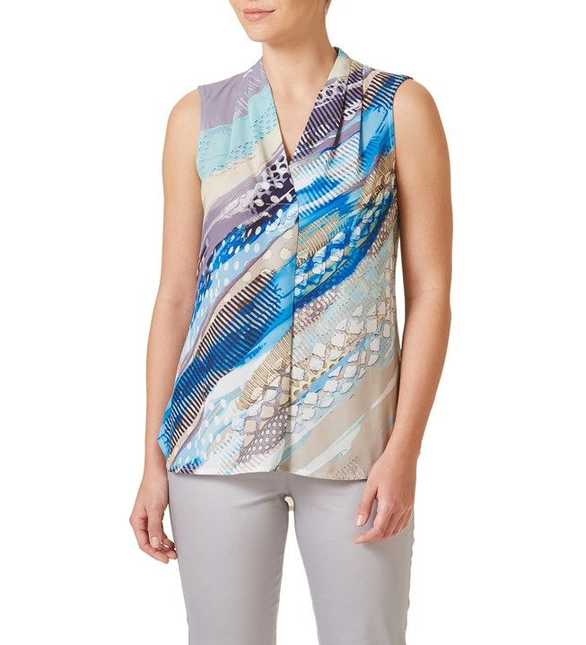 W.Lane Brush Print Drape Top