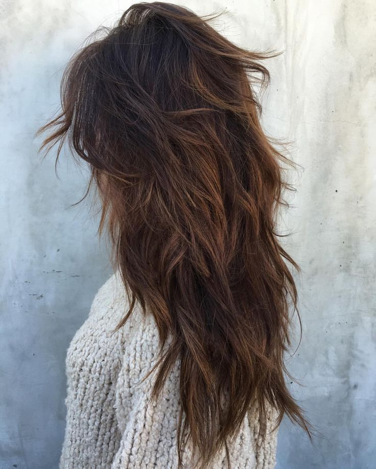 Long choppy layered hair