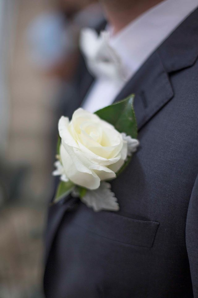 Mens white rose buttonhole