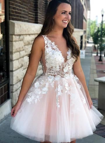 ea91fee41f1 Pink lace tulle short prom dress