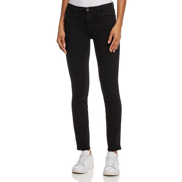 Frame Le High Skinny Jeans in Film Noir (£163) ❤ liked on Polyvore featuring jeans, film noir, skinny leg jeans, cut skinny jeans, frame jeans, skinny jeans and skinny fit jeans