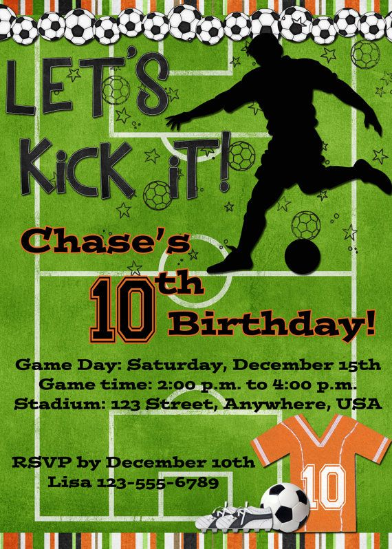 Soccer Birthday Party Invitation  Orange by DecidedlyDigital, $15.00