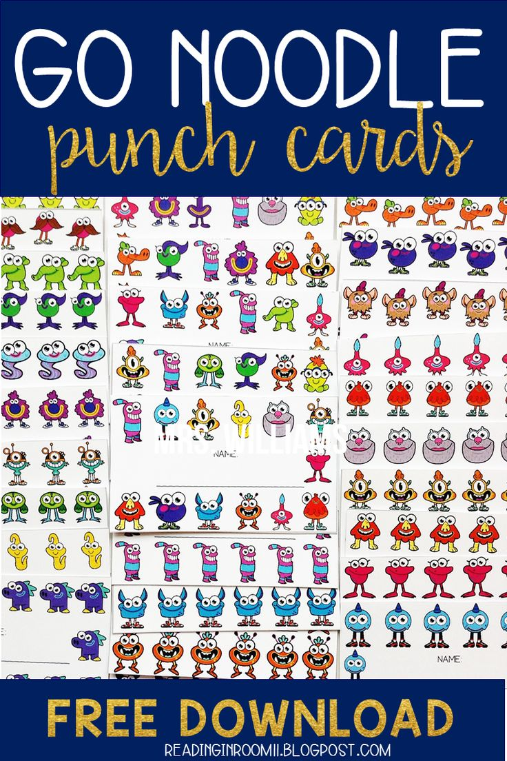 Check out these champ-tastic GoNoodle punch cards!  This set includes all of the GoNoodle champs in 30 different designs. This gives you a total of 240 individual punch cards! Punch cards can be a great addition to your behavior management system.  You ca