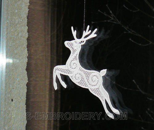 Северный олень Freestanding кружева рождественские украшения окна