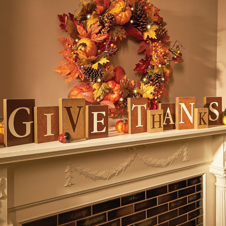 """Give Thanks"" Décor Blocks: Sit them on your fireplace mantel or on your table as a focal point for your Thanksgiving dinner."