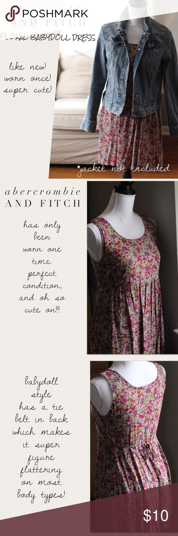 Abercrombie and Fitch Dress Like New (as it was only worn one time), babydoll dress from A&F.  Size Large (their sizing runs small).  Dress has no flaws and looks brand new. Abercrombie & Fitch Dresses