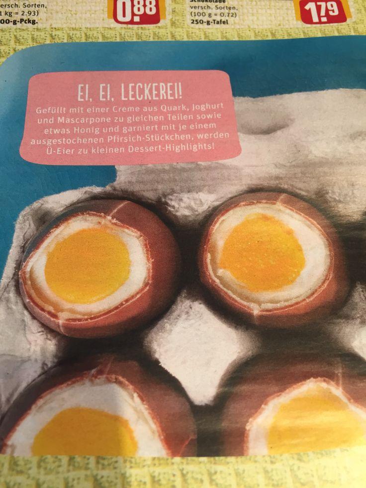 Überraschung Eier gefüllt mit einer Creme aus Quark, Joghurt und Mascarpone zu gleichen Teilen sowie etwas Honig und garniert mit je einem ausgestochenen Pfirsich-Stückchen. (Aus Penny Prospekt)