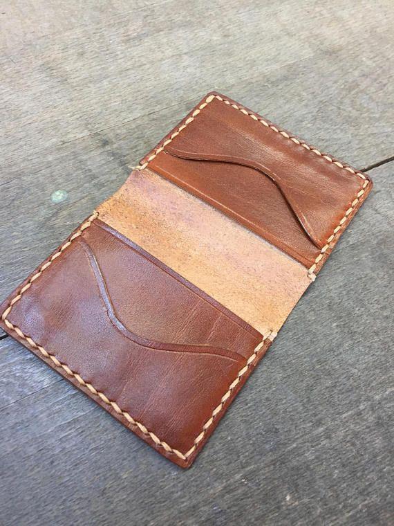 Leather Cardholder wallet/ handmade/ vegetable tanned leather/ business cardholder/ slim billfold/ card holder/ personalization gift/ wallet