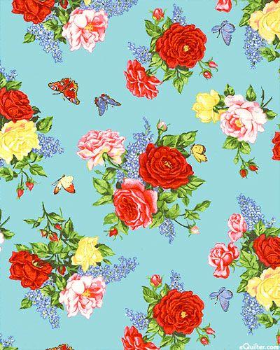 Summer Garden - Butterfly Bouquets - Deep Aqua from eQuilter