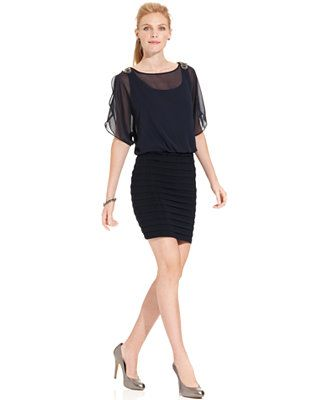 R&M Richards Dress, Short-Split-Sleeve Beaded Chiffon Blouson