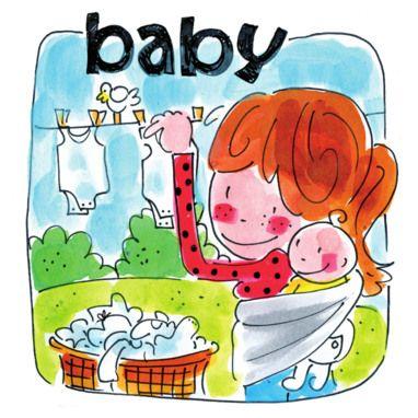 Een moeder met baby hangt babykleding op- Greetz