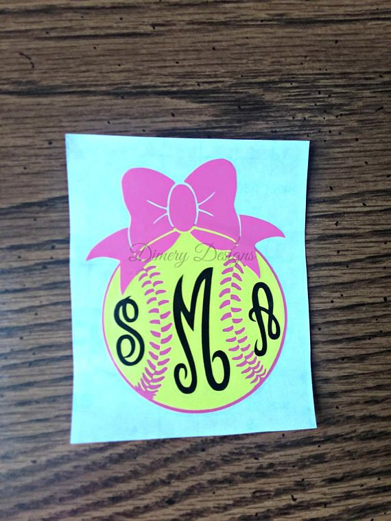 Softball with bow and monogram/ decal sticker for car laptop