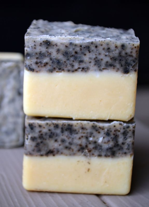 A creamy goat milk soap with a layer of exfoliating coffee grounds.