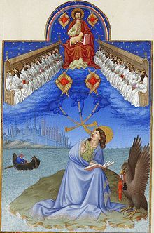 Vision of John of Patmos from the Book of Revelation (4:4)—four seraphim surround the throne of Christ, twenty-four elders sit on thrones to either side (Très Riches Heures du Duc de Berry)