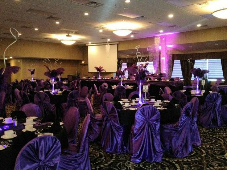 Purple satin + black wedding with self tie chair covers.