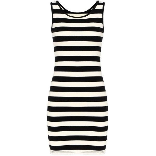Yoins Stripe Mini Dress ($14) ❤ liked on Polyvore featuring dresses, vestidos, black, bodycon mini dress, mini dress, scoop neck dress, striped mini dress and ribbed dress