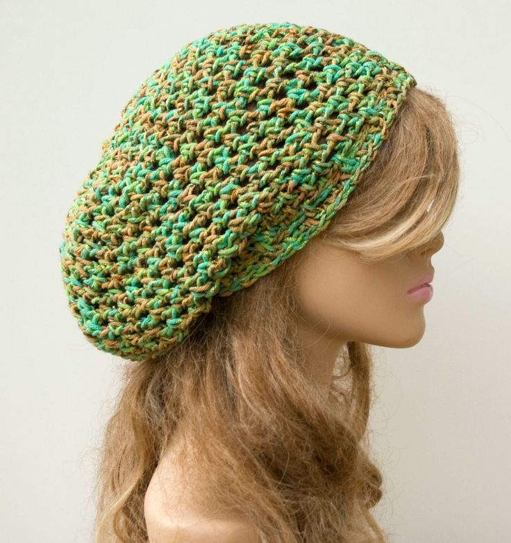 New to PurpleSageDesignz on Etsy: Spring Green Slouchy Beanie Snood Hat small Dread Sock Tam hat cotton blend slouchy hat Bohemian smooth Hat Handmade women beanie slouch (18.00 USD)