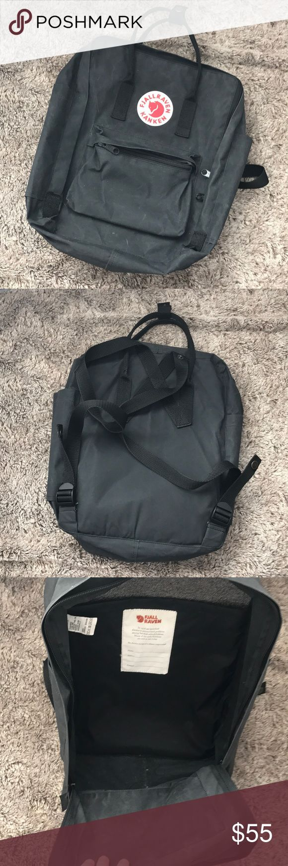 """Black Kanken Backpack by Fjallraven Black Kanken Backpack by Fjallraven. Great Used condition. Authentic- purchased at Nordstrom about a year ago. No trades. Open to offers through the offer button 🎉 measurements (according to the Nordstrom website) are 10 ¼""""W x 15""""H x 5""""D Fjallraven Bags Backpacks"""