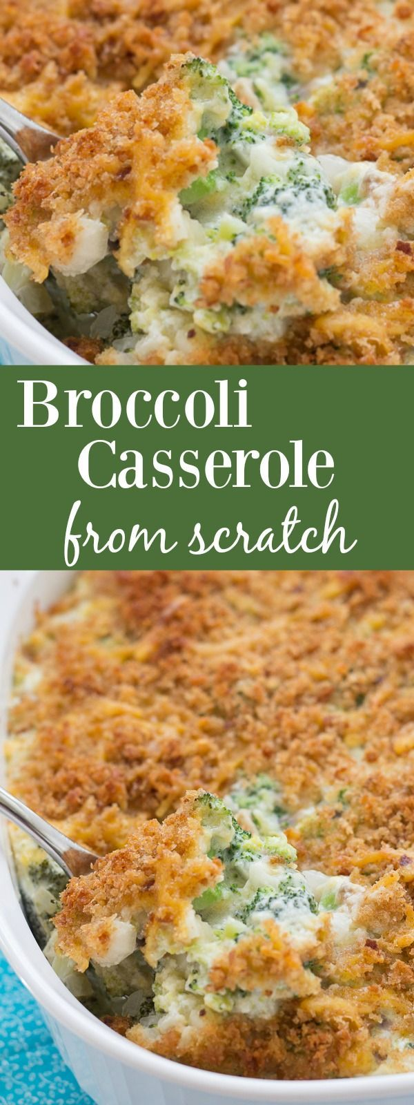 Cheesy, creamy broccoli casserole with a cheesy breadcrumb topping. This is our favorite holiday side dish! Completely from scratch. kristineskitchenblog.com