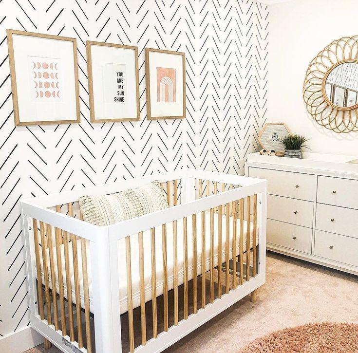 Herringbone Wallpaper in Nursery in 2020 Best baby cribs