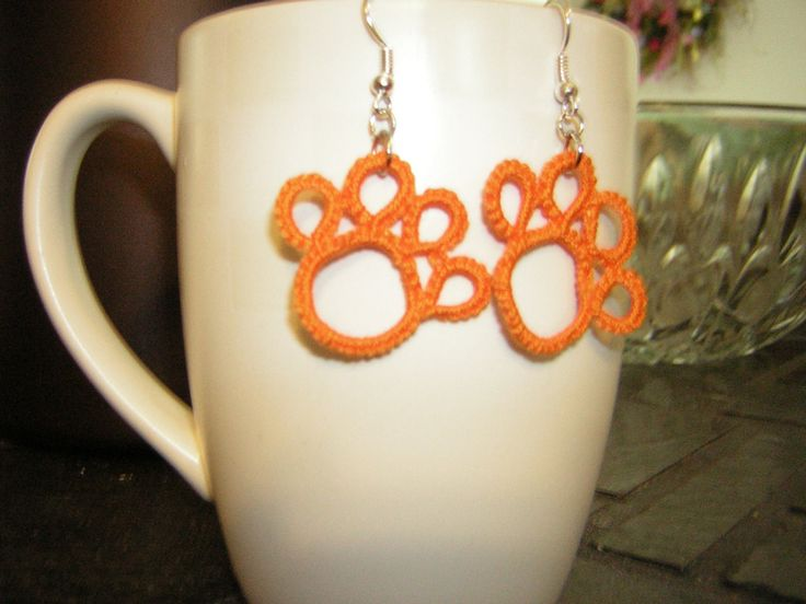 Clemson+Tiger+Paw+Tatted+Earrings+by+TallentedTatter+on+Etsy