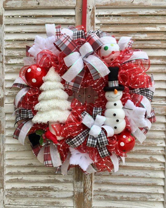 Snowman Wreath Christmas Wreath Holiday Wreath Winter Wreath Holiday Snowman Decomesh Wreath Red And White Wreath Whimsical Decor In 2020 Christmas Wreaths Whimsical Decor Holiday Wreaths