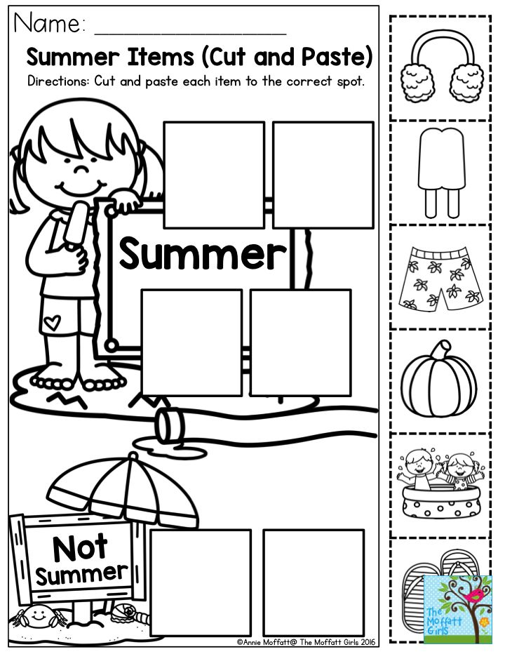 Summer Items- Cut and paste each item to the correct spot ...