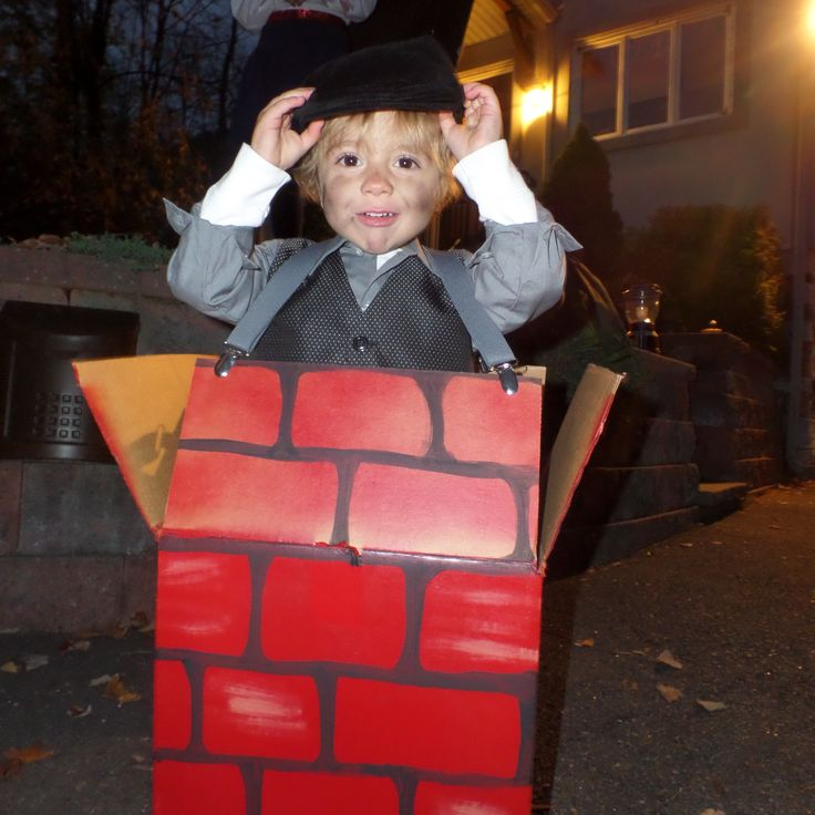 DIY chimney Sweep costume * Spray painted cardboard box attached with suspenders * black pants, gray button down shirt & vest, black caddy hat * add some soot from candle jar and voila...cutest little chimney sweep!