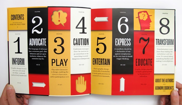 This table of contents has a very clear hierarchy and the two typefaces complement each other well. Adding great visual interest, the layout and theme of the vertical bars of colors clearly define each section and give them their own distinctive voice, while still remaining cohesive.