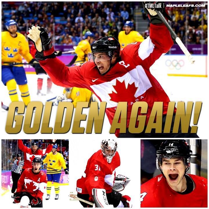 Canada wins gold at Sochi Olympics!  Two gold medals for men and women in a row, 2010 and 2014!