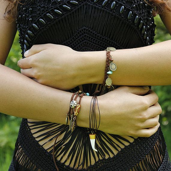 Free Spirit - Bracelet Tusk - leather cord bracelet with handmade tusk tooth horn