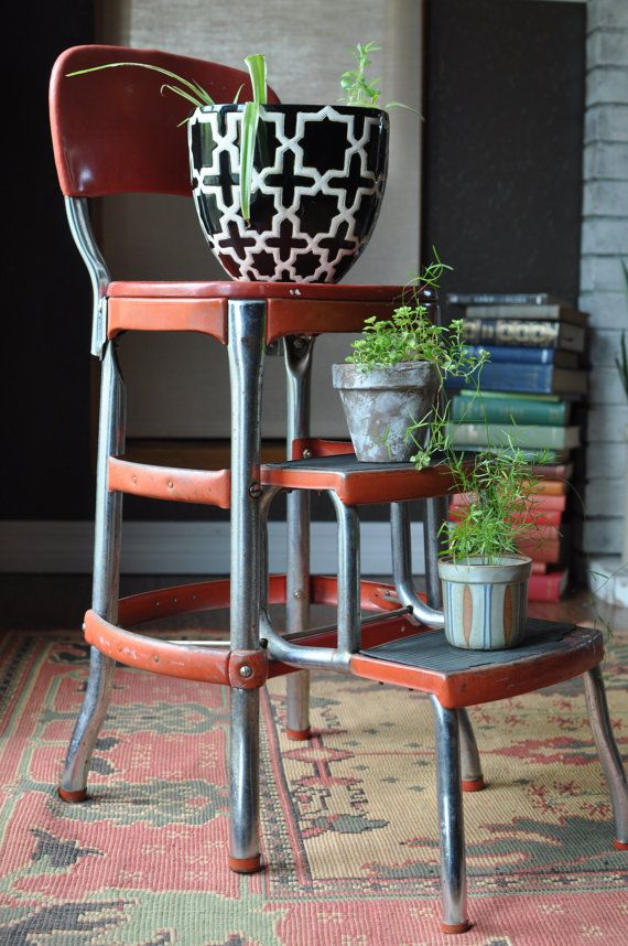 Vintage COSCO Red 3 Tier Metal Step Stool/Retro Red by EuroFair
