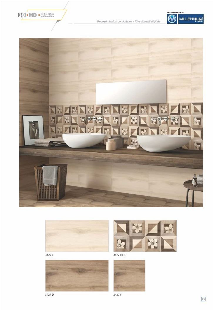 Millennium Tiles 300x600mm (12x24) Digital Ceramic Large Format #WoodDesign Wall #Tiles - 3427_L - 3427_HL1 - 3427_D - 3427_F - Six Colour Technology: This six colour digital colour printing process uses CMYK inks plus a lighter shade of cyan (LC) and magenta (LM) to create more realistic tiles. - 3D Technology: Our physical environment is three-dimensional and we see the world in a 3D way, you will have a feeling of depth with our 3D visual experience. - HD Technology: High-definition tec