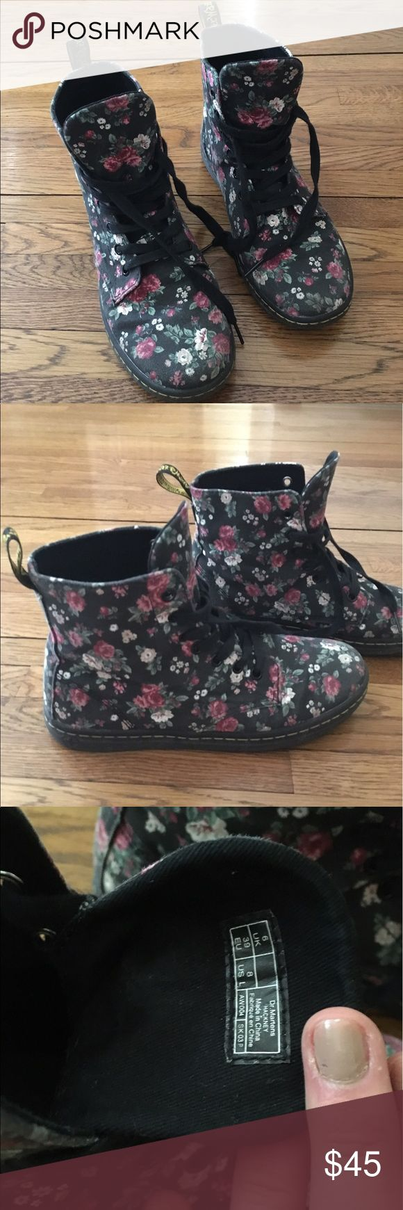Doc martens floral boots Gently used only worn a handful of times doc martens Shoes Combat & Moto Boots