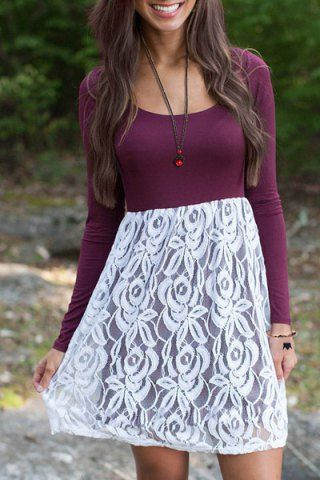 Stylish Scoop Neck Long Sleeve Lace Spliced Women's Flare Dress  This purple could be close to dakr tint... The heavier lace etc migt be 1/3..the Depth of the int more 1/3 than 1/2