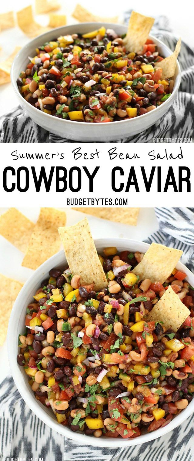 Cowboy Caviar is like a cross between a bean salad and fresh salsa with its colorful mix of beans, vegetables, and a fresh lime infused dressing. @budgetbytes
