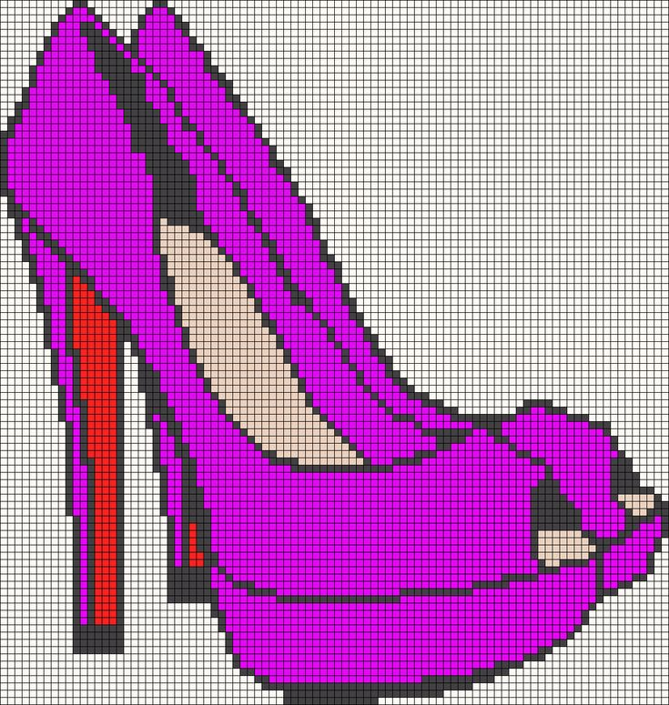 Fashion shoe pattern / chart for cross stitch, crochet, knitting, knotting, beading, weaving, pixel art, and other crafting projects