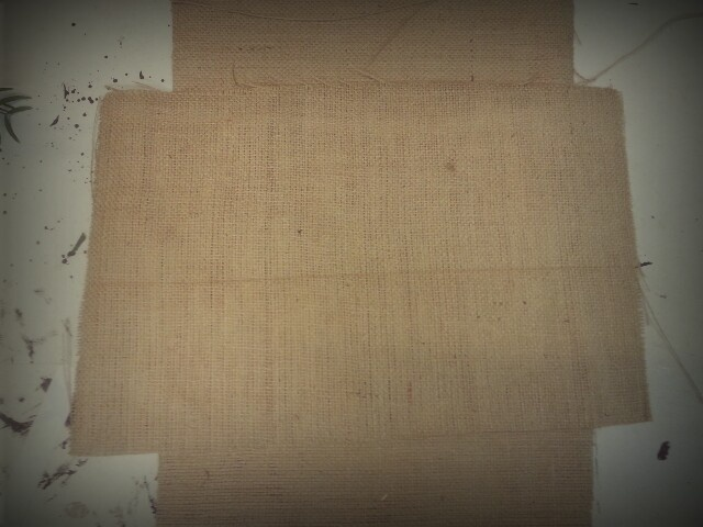Step 5) wrapping - place your hessian sheets in a cross pattern one on top of the other