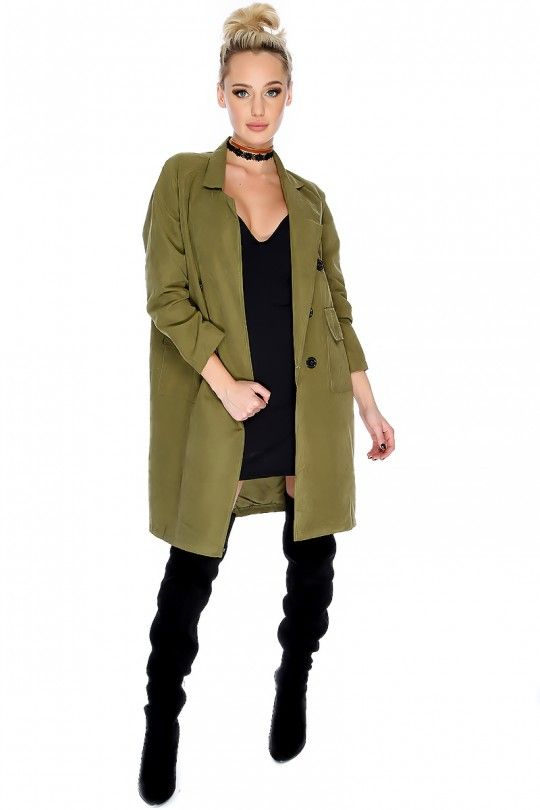 Sexy Olive Collared Long Sleeve Double-Breast Button Front Pocket Lightweight Trench Coat