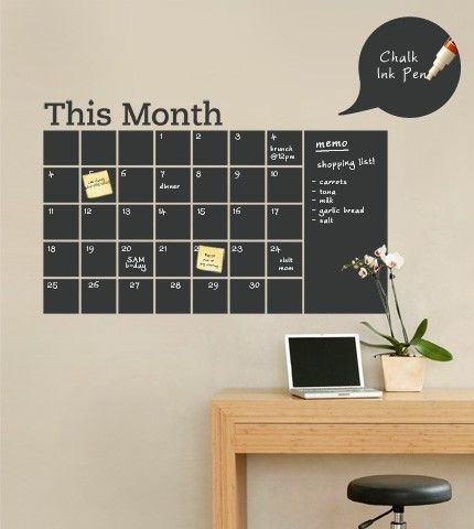 "Stay organized with the help of this chalkboard wall calendar. This calendar wall decal incorporates a black chalkboard vinyl that you can write on and erase. This calendar design also includes an extra ""memo"" area on the side."
