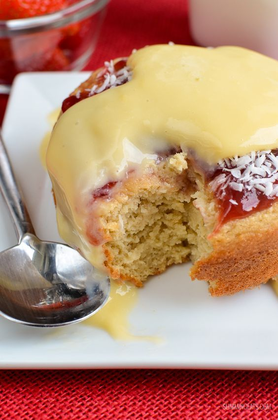 Slimming Eats Low Syn Jam and Coconut Sponge Cake - gluten free, vegetarian, Slimming World and Weight Watchers friendly