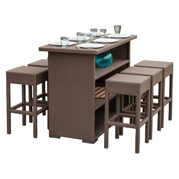 Christopher Knight Home Milton 7 Piece Wicker Patio Bar Set, Brown Part 92
