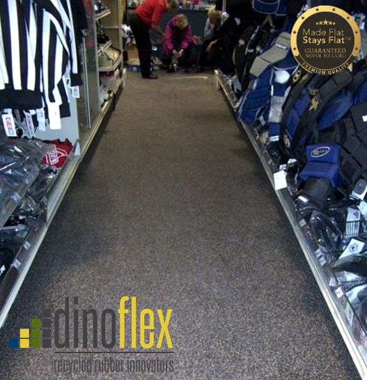 The Dinoflex difference, our rubber flooring is made flat stays flat and guaranteed never to curl. Canadian Tire in Kingston, Ontario used our rubber sport mat flooring in their sports section to hold up during hockey season. Check out www.dinoflex.com for all our of product options. #CanadianTire #Kingston #Ontario #MadeFlatStaysFlat #UniquelyDifferent #Sports #Flooring